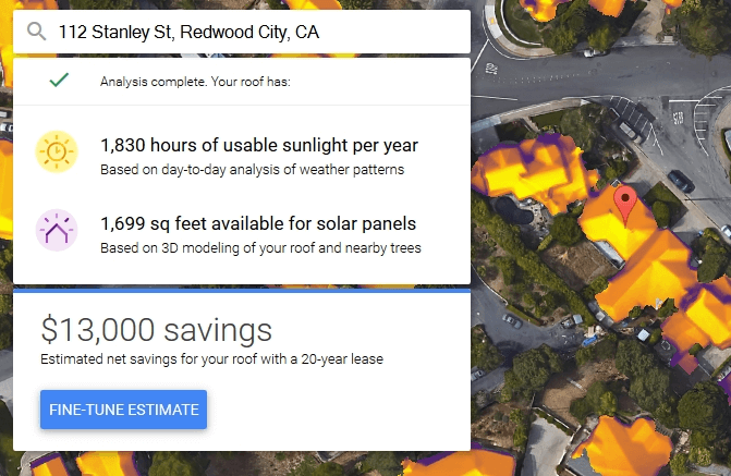 sunroof google panouri solare calculator